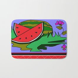 Watermelon with flower and red tile Bath Mat