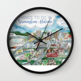Cartoon Map of Birmingham, Alabama Landmarks Wall Clock