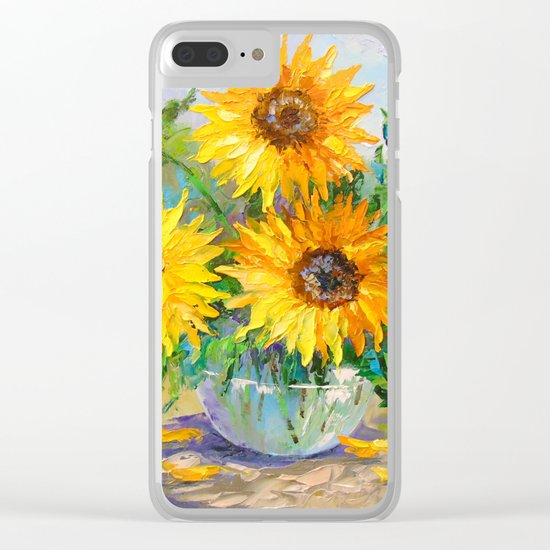 Bouquet of sunflowers on the table Clear iPhone Case