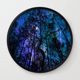 Black Trees Teal Purple Space Wall Clock