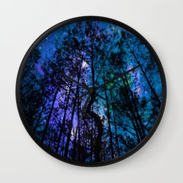 Black Trees Teal Purple Space Wall Clock