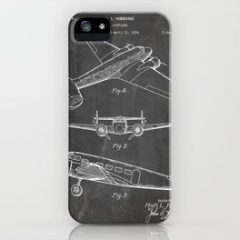 Lockheed Airplane Patent - Electra Aeroplane Art - Black Chalkboard iPhone Case