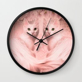 """Pink Pastel Doppelganger Cats at the Garden"" Wall Clock"