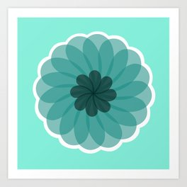 turquoise blue geometrical flower Art Print