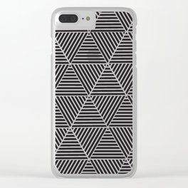 Black and White triangle pattern design Clear iPhone Case