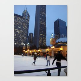 Ice Skating in Chicago Canvas Print