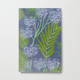 Botanical Pattern brush strokes  Metal Print