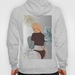 Set of tropical beauty. Women in elegant line art style. Monstera and palm leaves background. No 3/3 Hoody