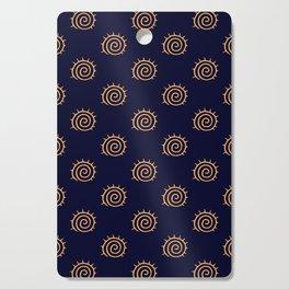 Navy Blue and yellow Swirl sun pattern Cutting Board