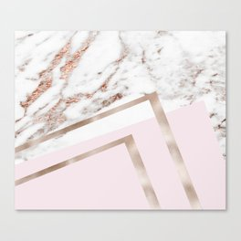 Geometric marble - luxe rose gold edition I Canvas Print