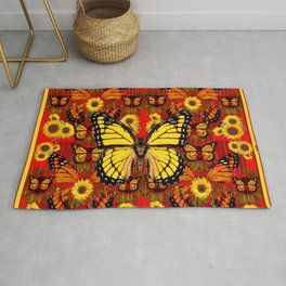 COFFEE BROWN MONARCH BUTTERFLY SUNFLOWERS Rug