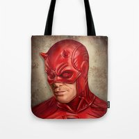 daredevil Tote Bags featuring Daredevil by Vanessa Seixas
