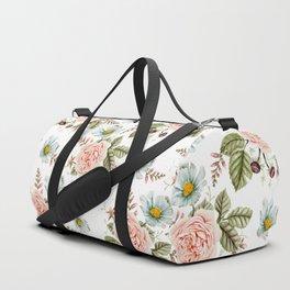 Rose and Foxglove Watercolor Florals Duffle Bag