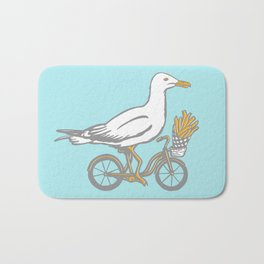 Sea gull on bikes with French fries Bath Mat