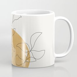Yellow Sun and Flowers / Minimalist Line `Art  Coffee Mug