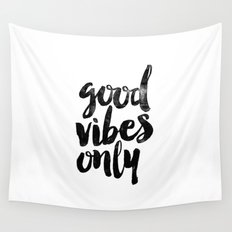 Good Vibes Only Black and White Typography Print Inspirational Quote Wall Tapestry