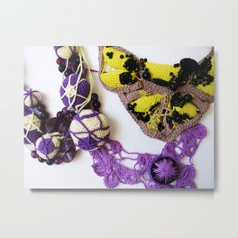 Purple Yellow Beaded Romanian Point Lace Photography Metal Print