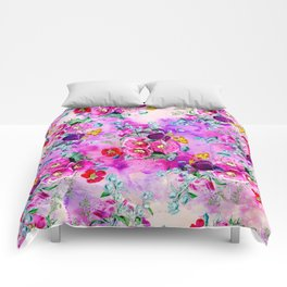 Spring vintage floral pink purple bouquet on pink purple watercolor Comforters