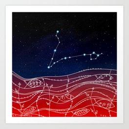 Pisces Constellation Design Art Print