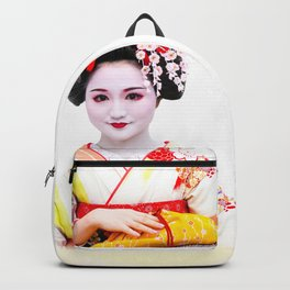 Geisha Maiko in yellow kimono Backpack