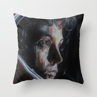 ripley Throw Pillows featuring Ripley from Aliens by Ashley Anderson