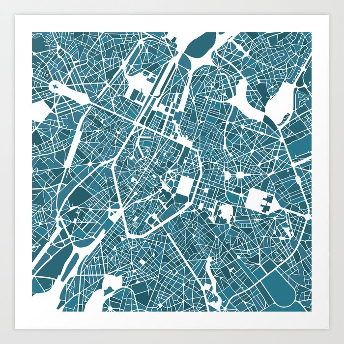 Brussels City Map I Art Print by simonopsomer