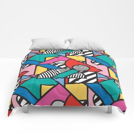 Colorful Memphis Modern Geometric Shapes - Tribal Kente African Aztec Comforters