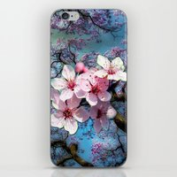 cherry blossoms iPhone & iPod Skins featuring Cherry Blossoms by Just Kidding