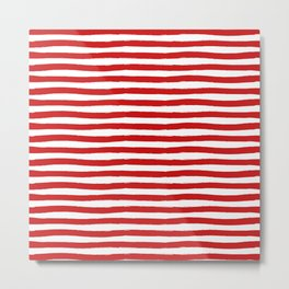 Red Horizontal Stripes Metal Print