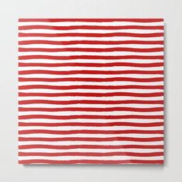 Red Horizontal Stripes Metal Print