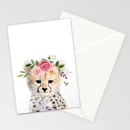 Baby Cheetah with Flower Crown Stationery Cards