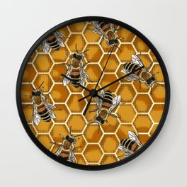 Honey Bee Beehive * Bumble Bees and Worker Bees Wall Clock