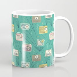 Mid-century Modern Transistor Radios and Atomic Stars / Teal Coffee Mug