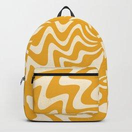Retro 70s Swirl Spiral Banana Yellow Groovie  Backpack