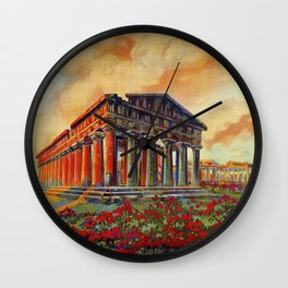 Paestum ancient Greek temple Wall Clock