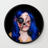coraline Wall Clocks featuring Gory Coraline by Janelle Jex