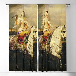 Classical Masterpiece An Algerian Lady Hawking by Horace Vernet Blackout Curtain