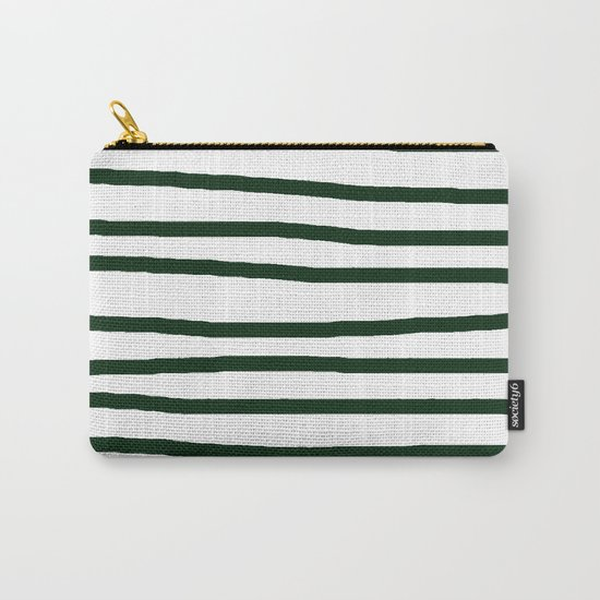 Simply Drawn Stripes in Pine Green Carry-All Pouch