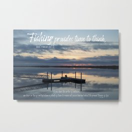 Fishing Reflection with Quote Metal Print