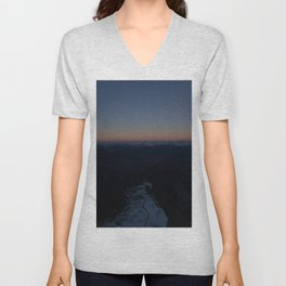 summit italy pass dolomites alps sunset snow boarder color Unisex V-Neck
