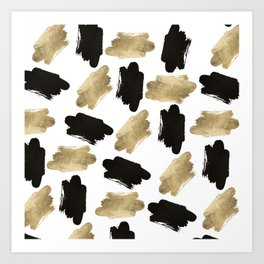 Modern black faux gold abstract brushstrokes Art Print