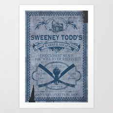 Sweeney Todd Barber Shop Advert Art Print