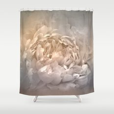 Blushing Silver and Gold Peony - Floral Shower Curtain