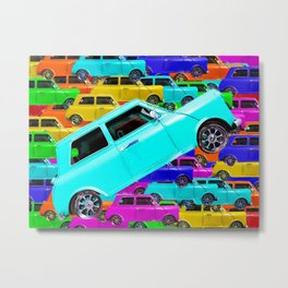 vintage classic car toy pattern background in yellow blue pink green orange Metal Print