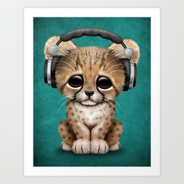 Cute Cheetah Cub Dj Wearing Headphones on Blue Art Print