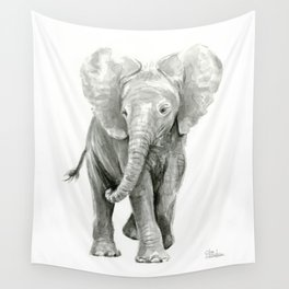 Baby Elephant Watercolor Wall Tapestry