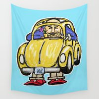 bug Wall Tapestries featuring Old Bug  by David Michael Schmidt