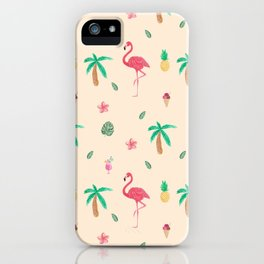 Cute Watercolor Pink Flamingos and Palm Trees iPhone Case