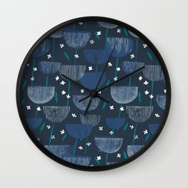 Botanical Block Print M+M Navy by Friztin Wall Clock