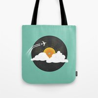 records Tote Bags featuring Sunburst Records by Dianne Delahunty